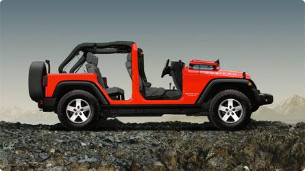 Jeep Wrangler windscreen down